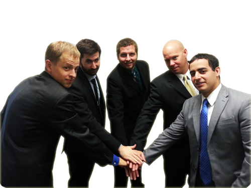 5 men putting their hands together