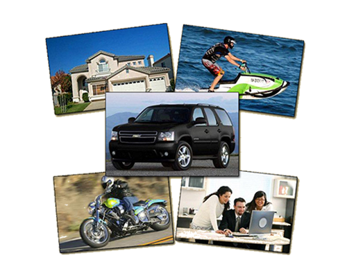 A house, a jetski, an SUV, a motorcycle, and 3 people at a laptop